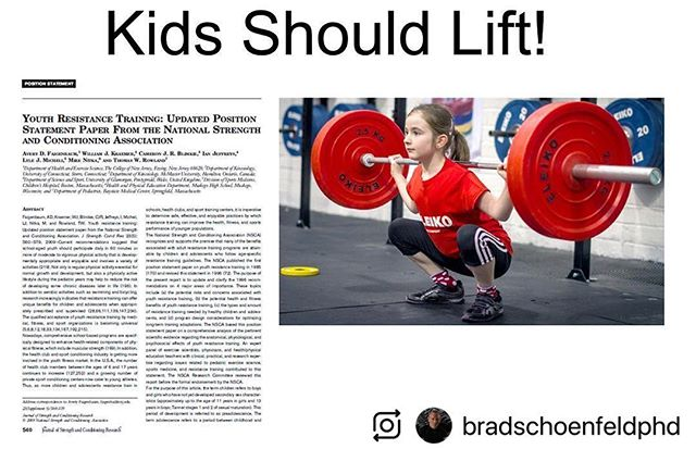 @bradschoenfeldphd (@make_repost) ・・・ Myth: Lifting weights stunts growth in children Fact: Children who lift weights enjoy a plethora of benefits. Bottom line: Kids should be encouraged to undertake a properly structured and supervised resistance training program.💪🏽
