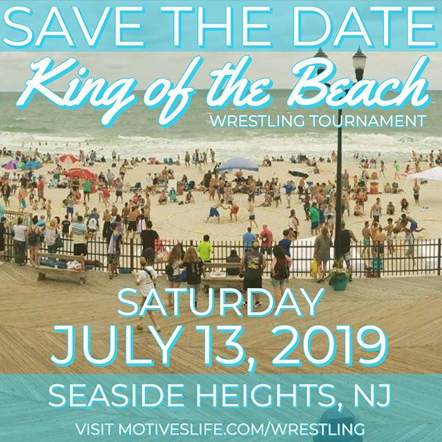 Save the date!  We are back for our 6th Annual!! Beach Wrestling Tournament  Saturday July 13th Seaside Heights, NJ  #motiveswrestling #jerseyshorekingofthebeach #njwrestling #beachwrestling #wrestling #seasideheights #motiveslife