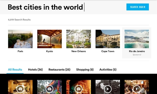 Conde Nast Traveler Search Experience