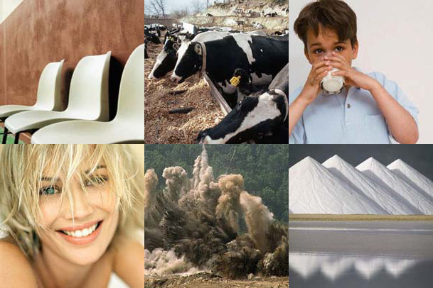 Uses pictured here (clockwise from top left)  as polymerisation initiators,   animal feed, human nutrition, salt iodization, mining explosives and hair bleach.
