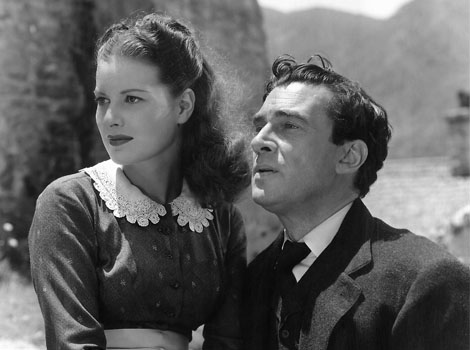 with Walter Pidgeon in How Green Was My Valley (1941)