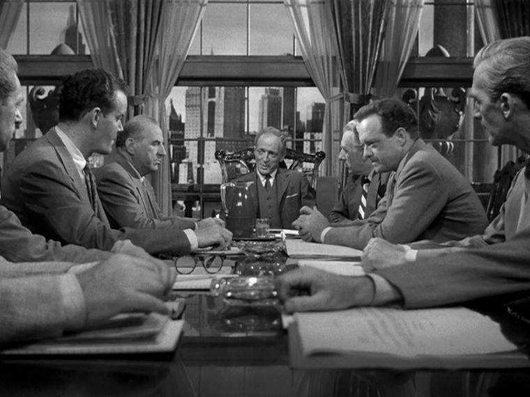 Ed Begley (Far left), Everett Sloane (Center), Van Heflin (Center on the right)