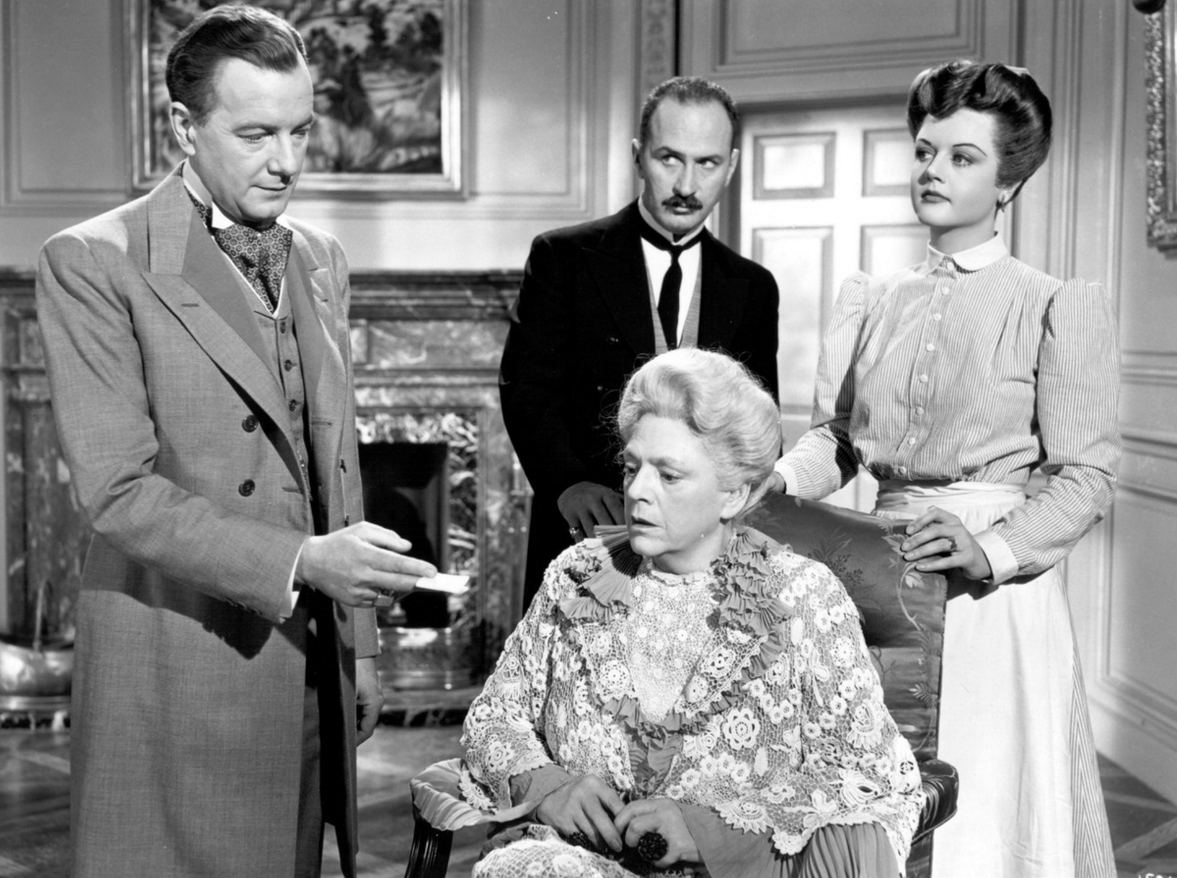 (From left) Maurice Evans, Ethel Barrymore, Keenan Wynn, Angela Lansbury