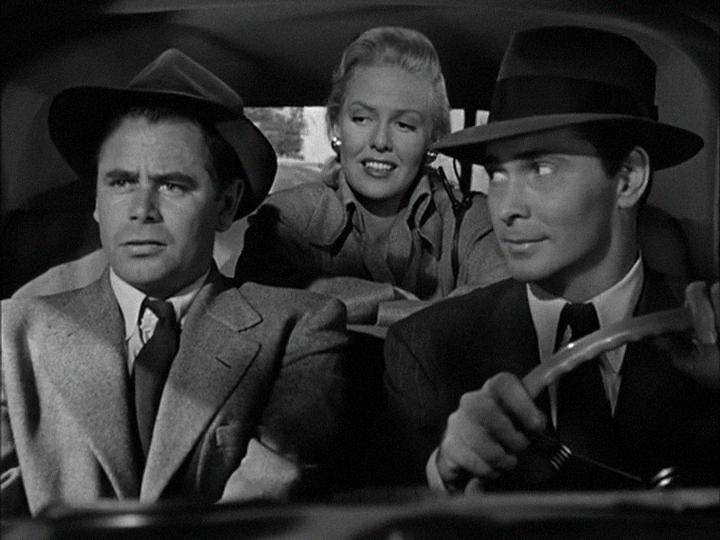 (From left) Glenn Ford, Janis Carter, Barry Sullivan