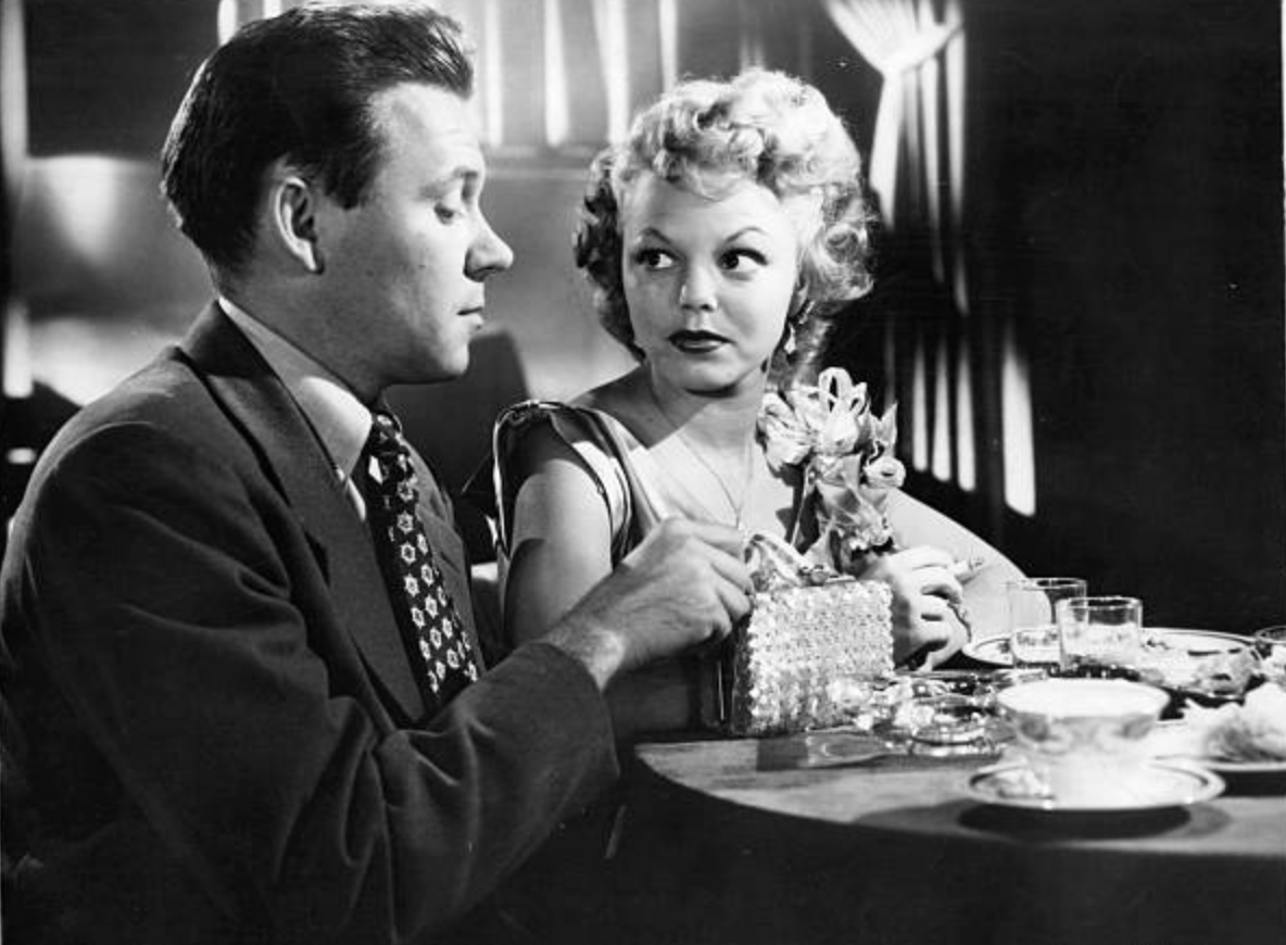 Richard Erdman as Delong with Jean Porter as Darlene in  Cry Danger
