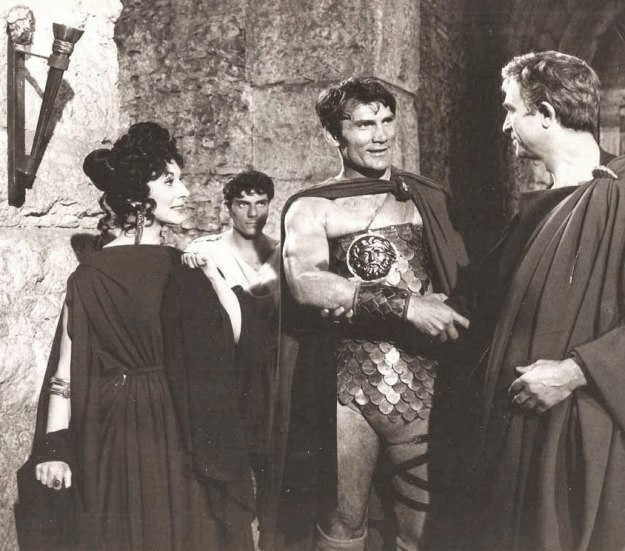 [foreground] Valentina Cortese, Jack Palance, and Norman Wooland in BARABBAS