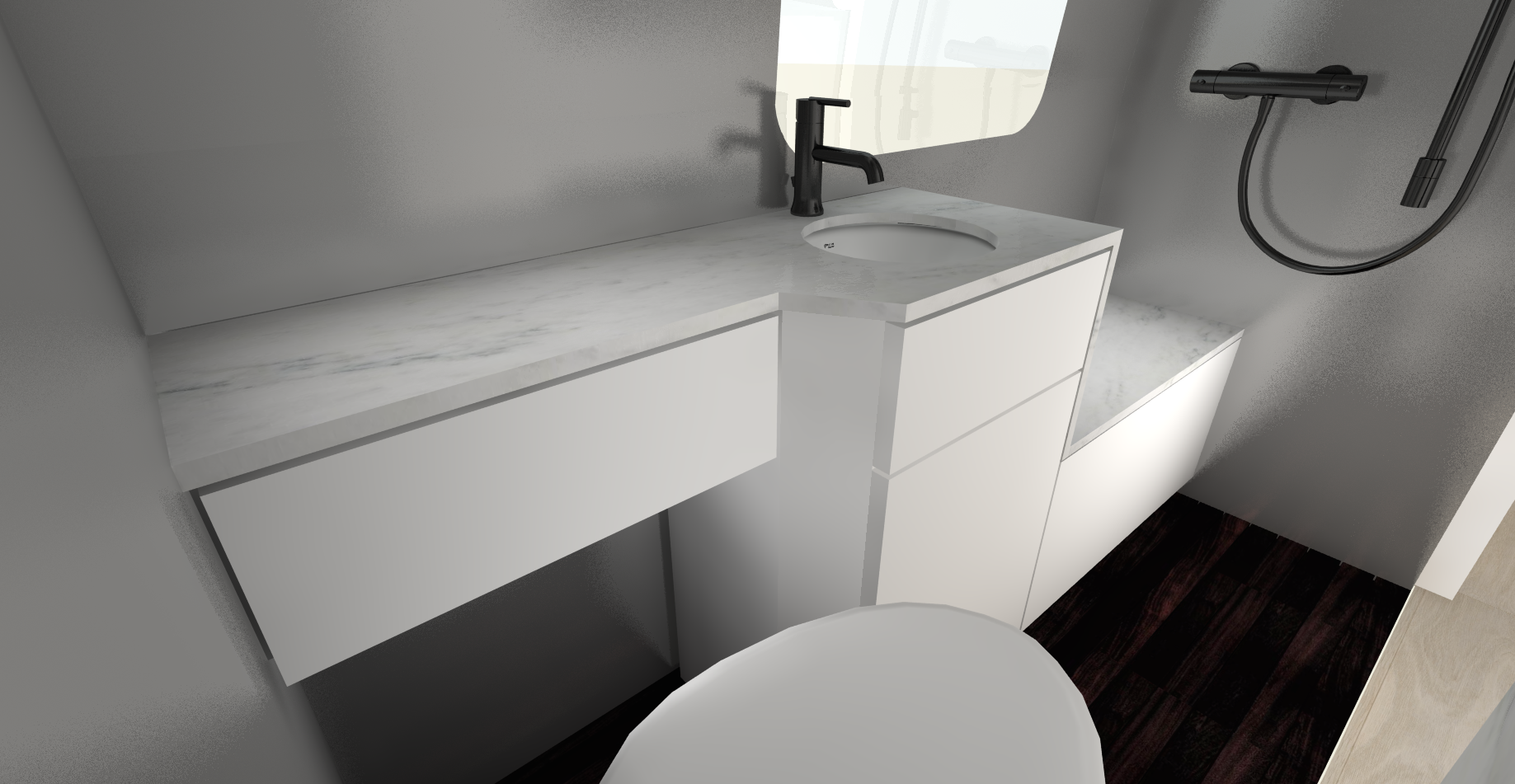 METAL WALLS, STONE CONTINUOUS COUNTER/BENCH WITH FRONT IN WHITE  (TOILET VIEW)