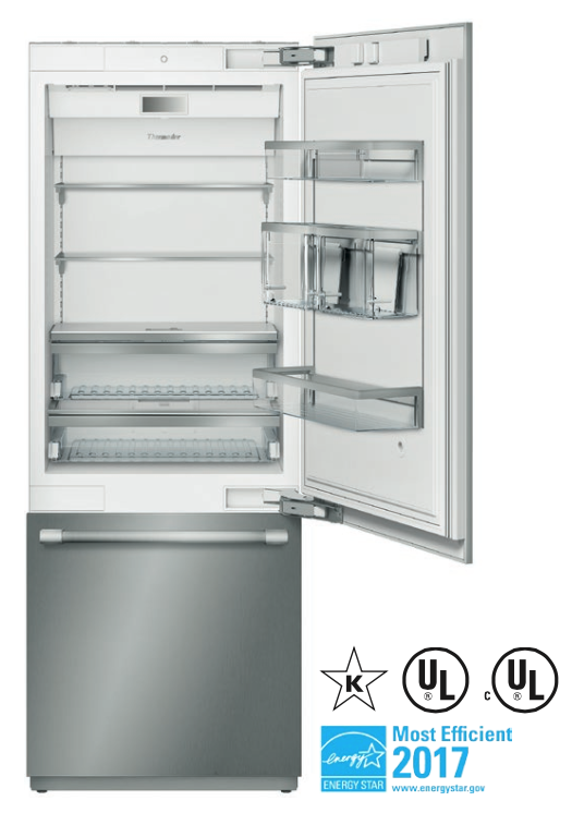 REFRIGERATOR THERMADOR T30IB900SP WITH CUSTOM PANEL TO MATCH KITCHEN CABINETS -