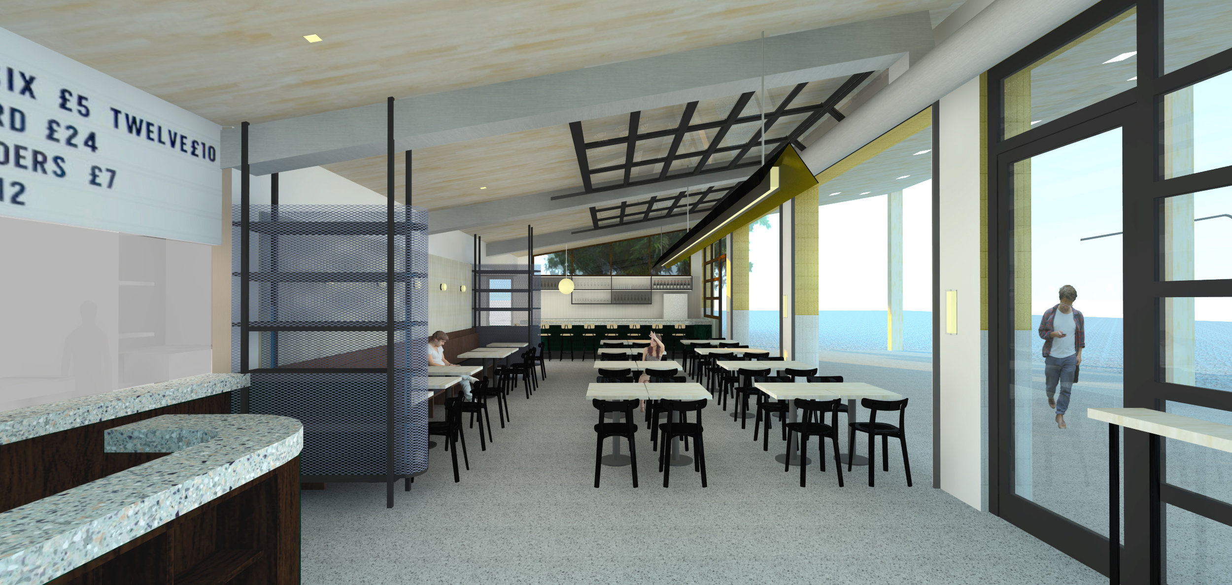 2. VIEW FROM ENTRY - METAL DUCTS, BLUE STORAGE SCREENS, WOOD SEATING, BAR, ORDERING COUNTER
