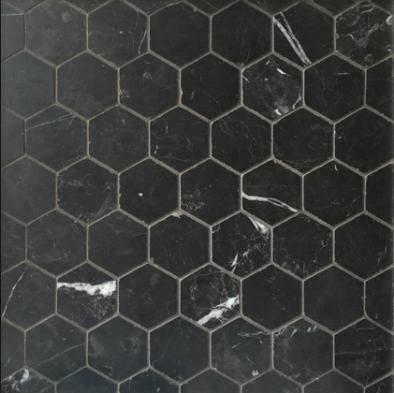 "Anne Sacks: Nero Marquina 2"" Hexagon _ $31.16 per sf"
