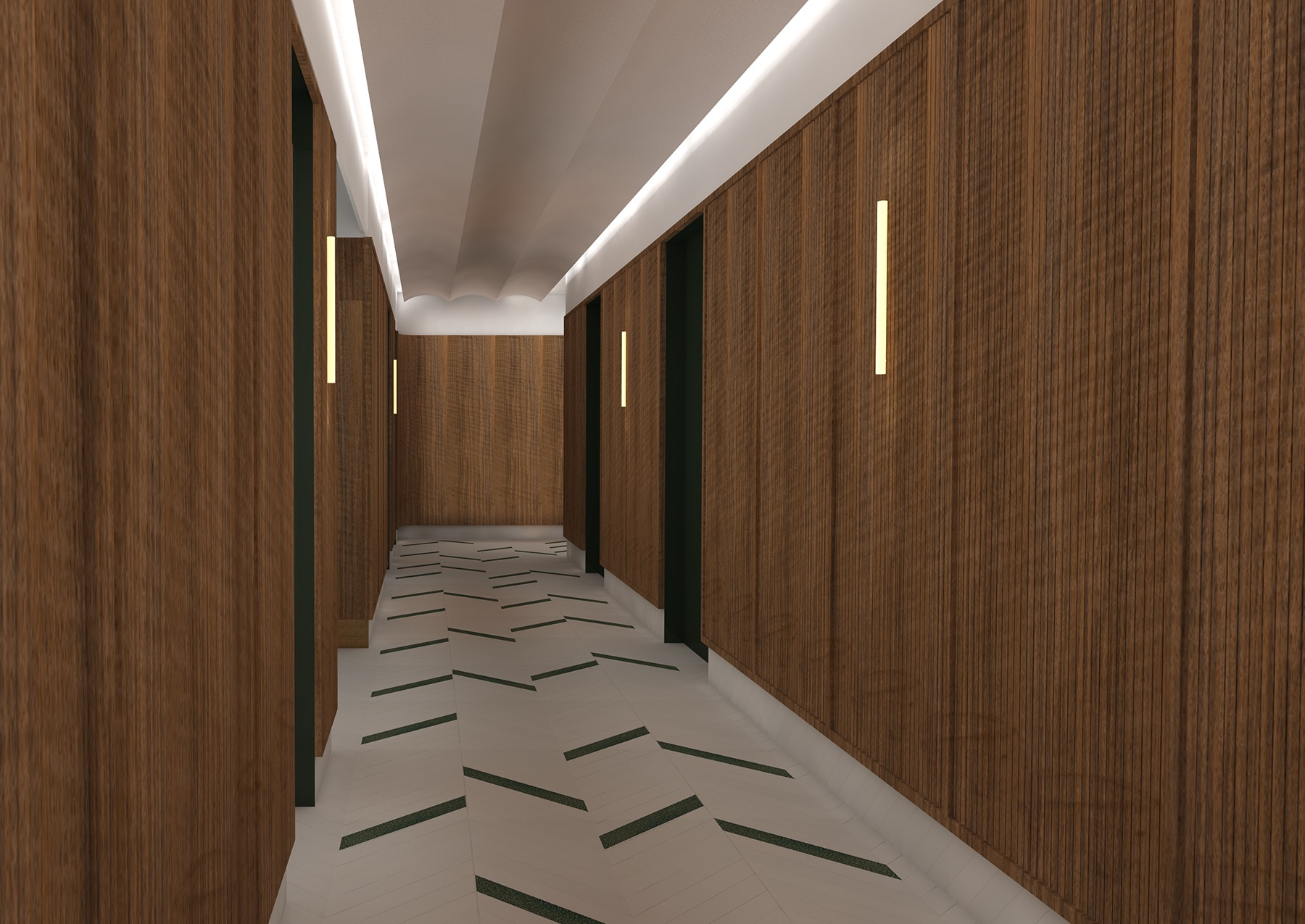 Floors are Mews tile from Mutina with Heath Ceramics tile, walnut walls panels, acoustical felt ceiling