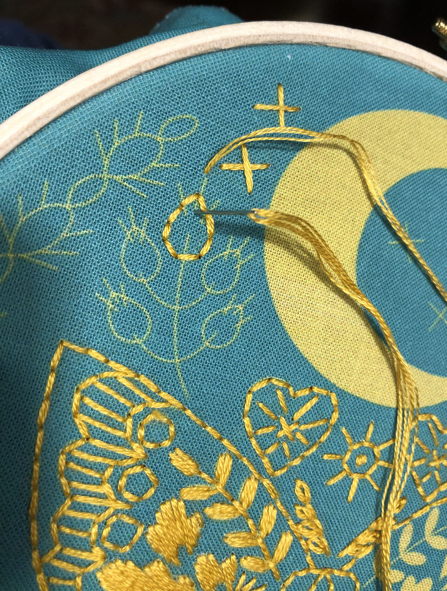 Seed Stitch over Back Stitch outline