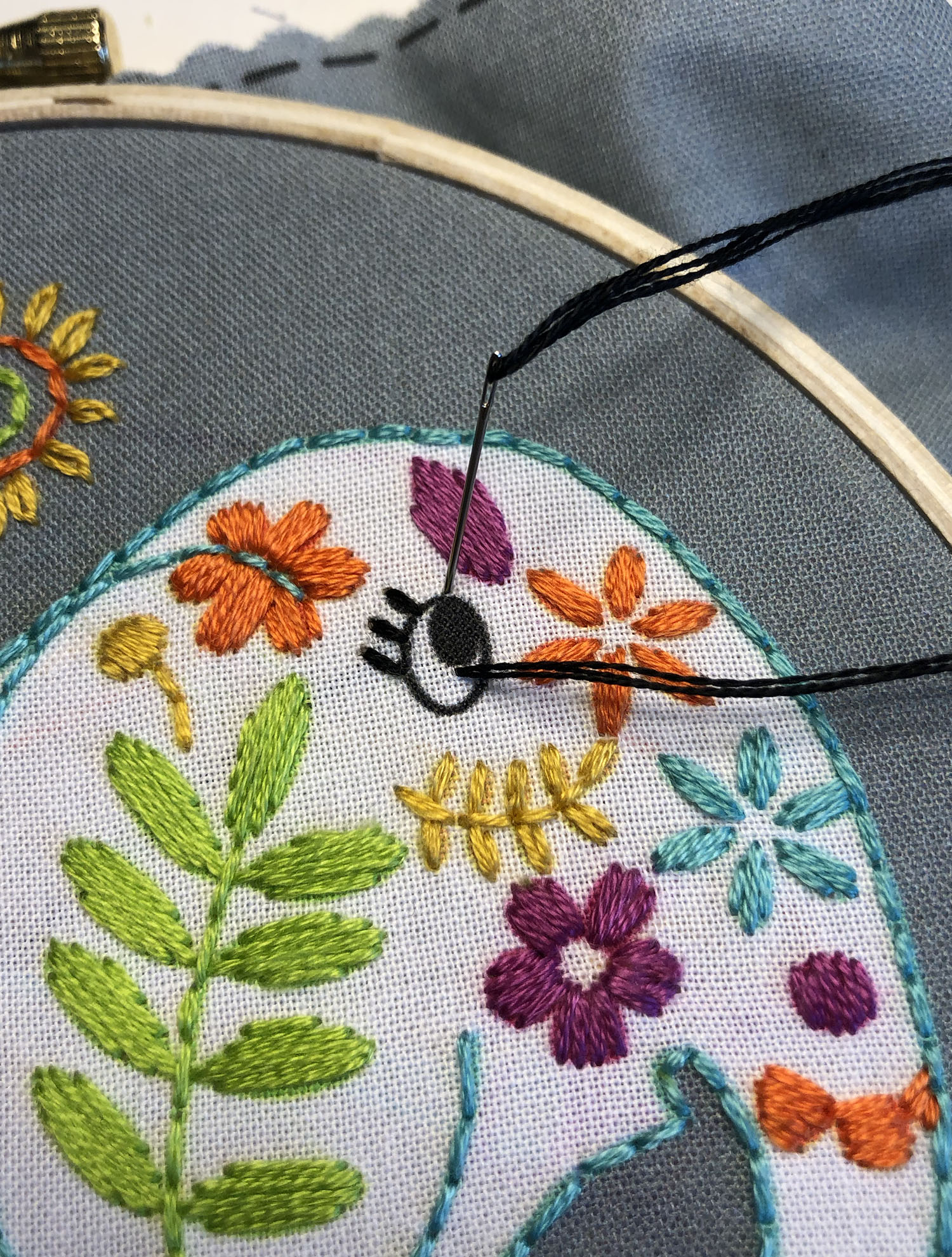 Satin Stitch, Back Stitch outline and single stitch for eyelashes
