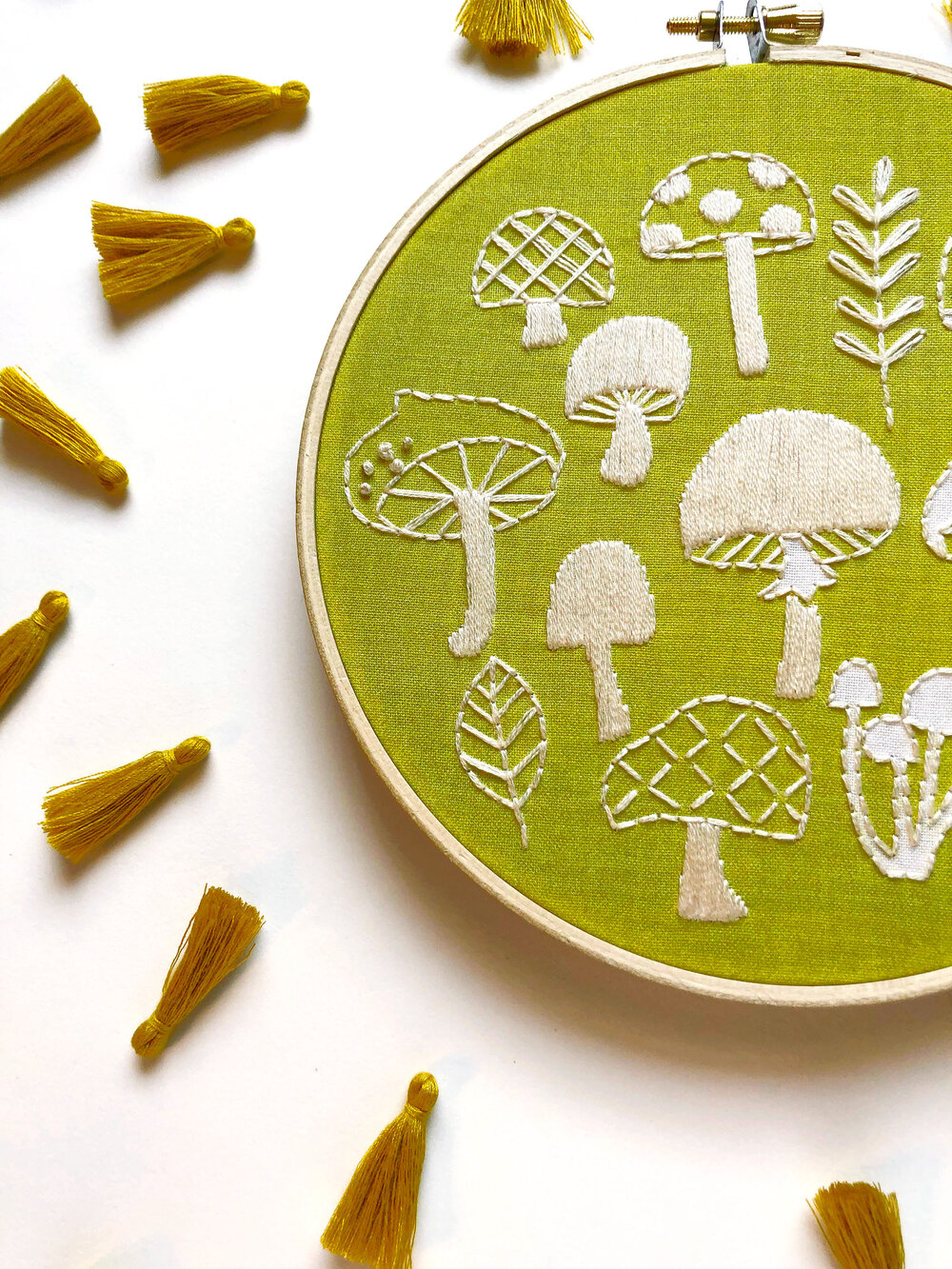 gift for her DIY craft mushroom embroidery kit beginner hoop art nature embroidery kits mushroom embroidery diy kit Mothers Day IP169