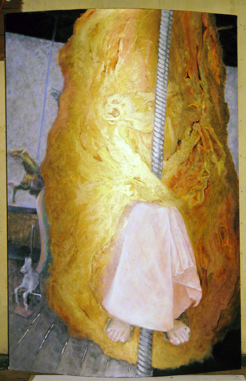 birth ride 1980 oil on canvas on convex plywood 72x48