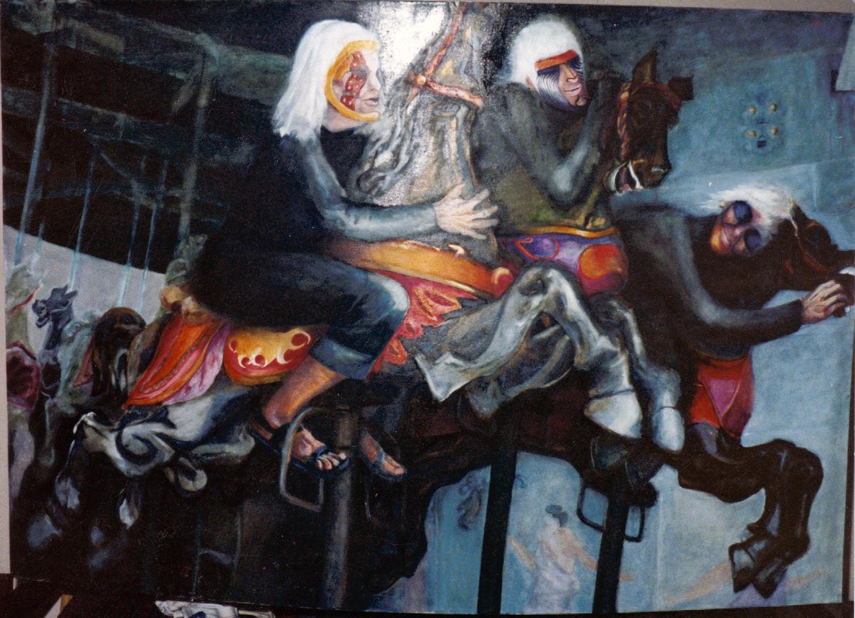 old women riding 1979 oil 48x72