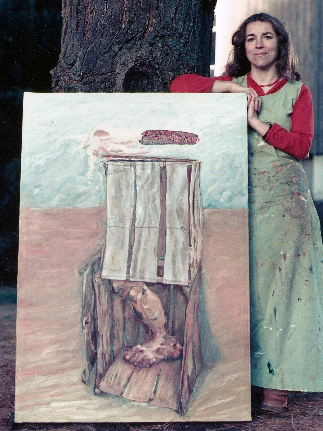 box with corn and leg 1976 oil 48x36