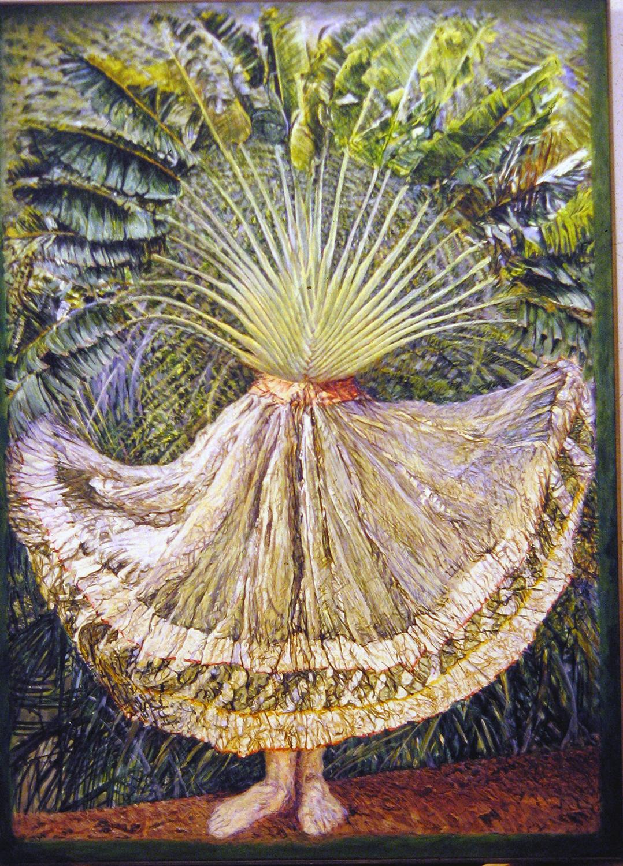 dancer silk and palm 1984 oil 72x51