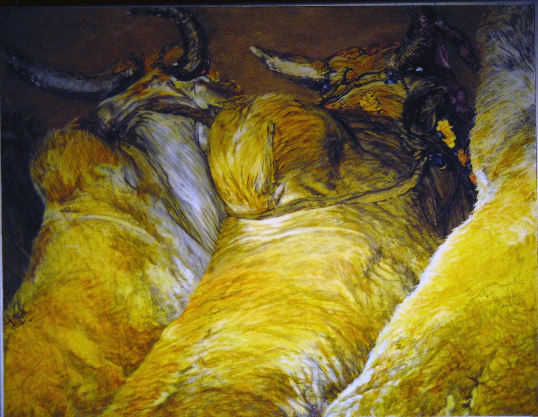 golden bullocks 1983 oil 48x60