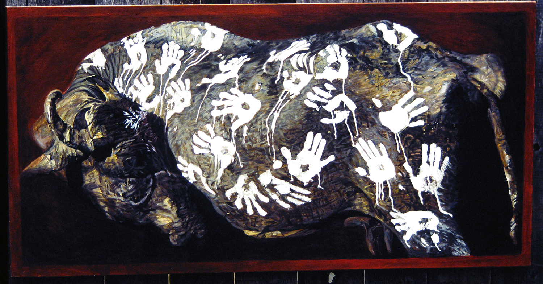 buffalo handprints 1982 oil 36x65