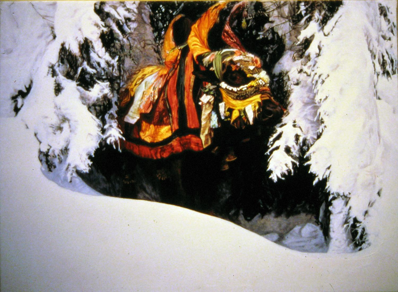 bullock in snow 1982 oil 48x60