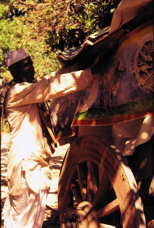 pune india bullock cart 1981 oil