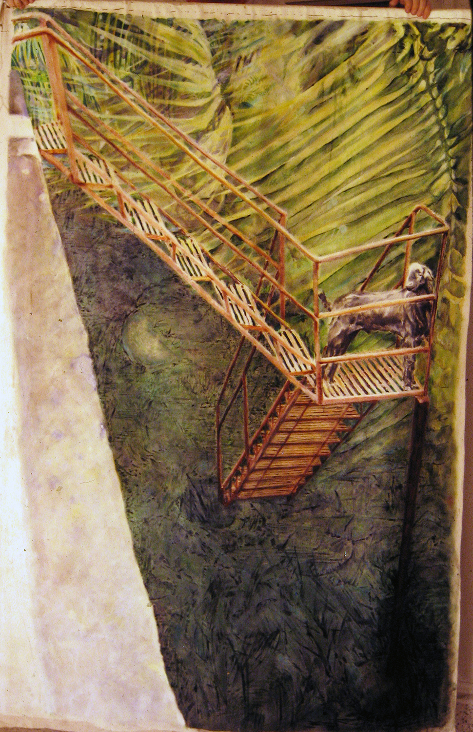 stairs painting 1980 oil 72x48