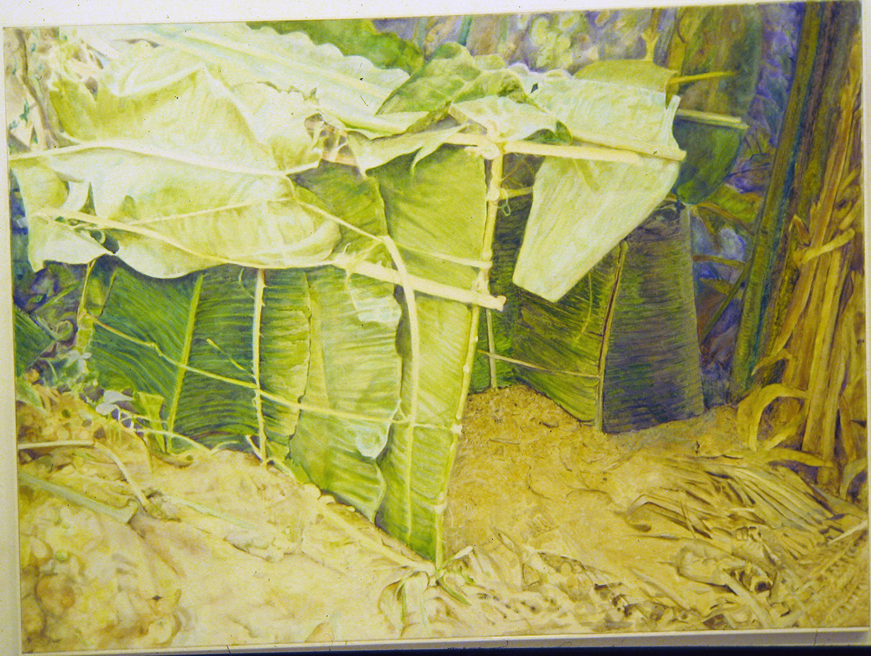 banana frond house 1981 oil 48x72