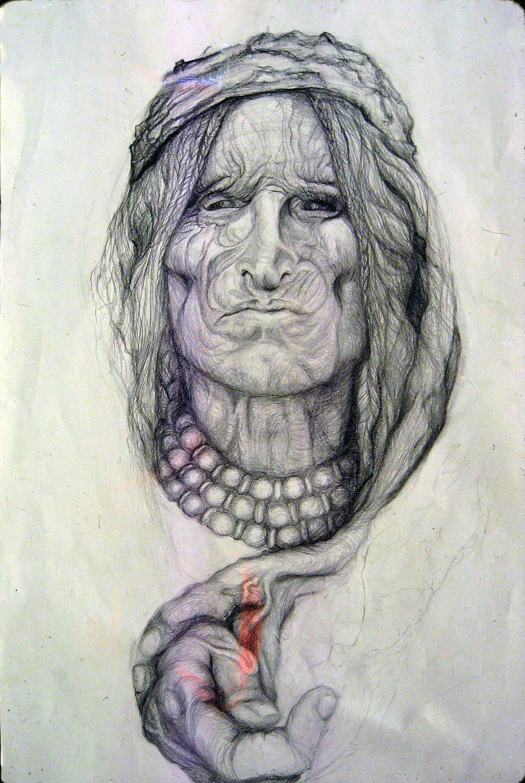 portrait indian woman 1977 pencil & paper 16x24