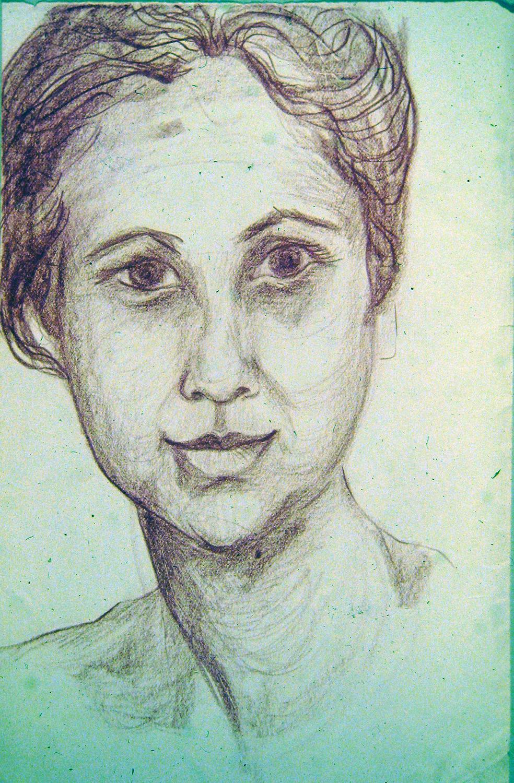 woman from assam benares 1973 pencil 12x9