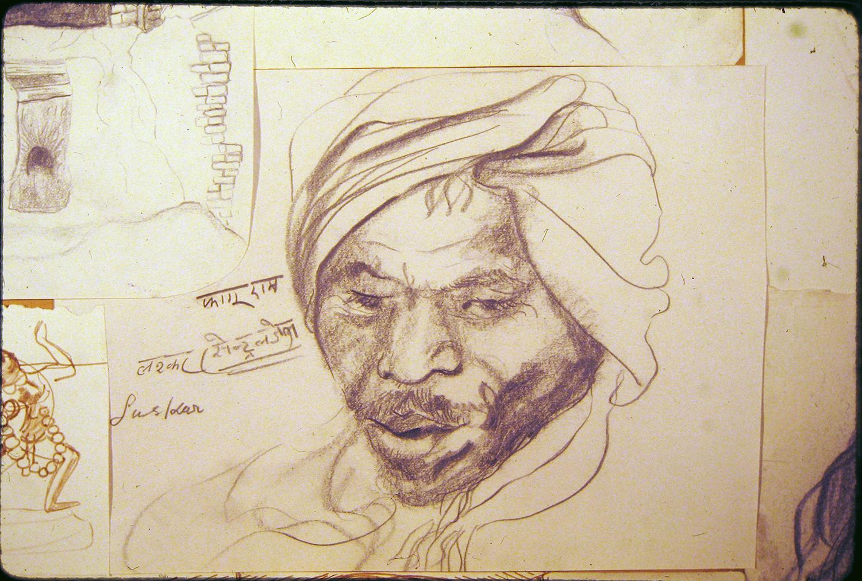 village man 1973 pencil 9x12
