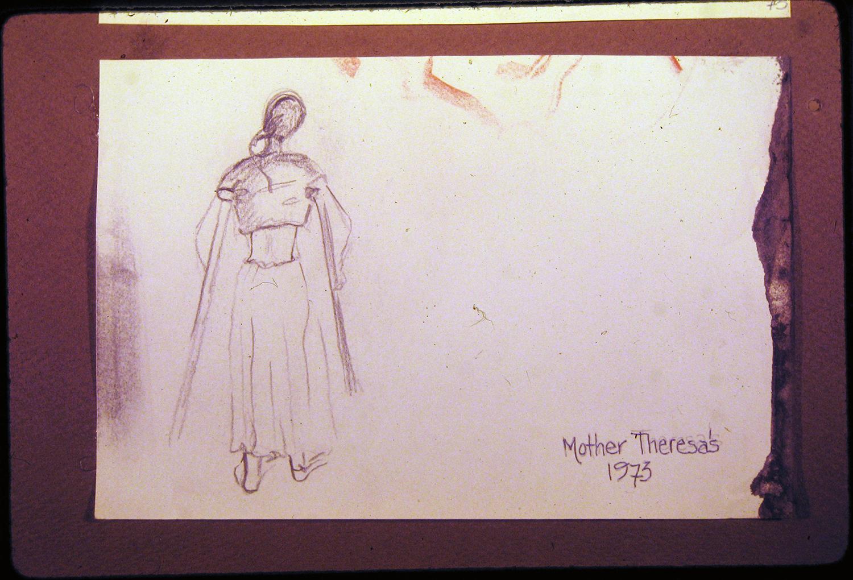 mother theresa's india - benares 1973 pencil 9x12