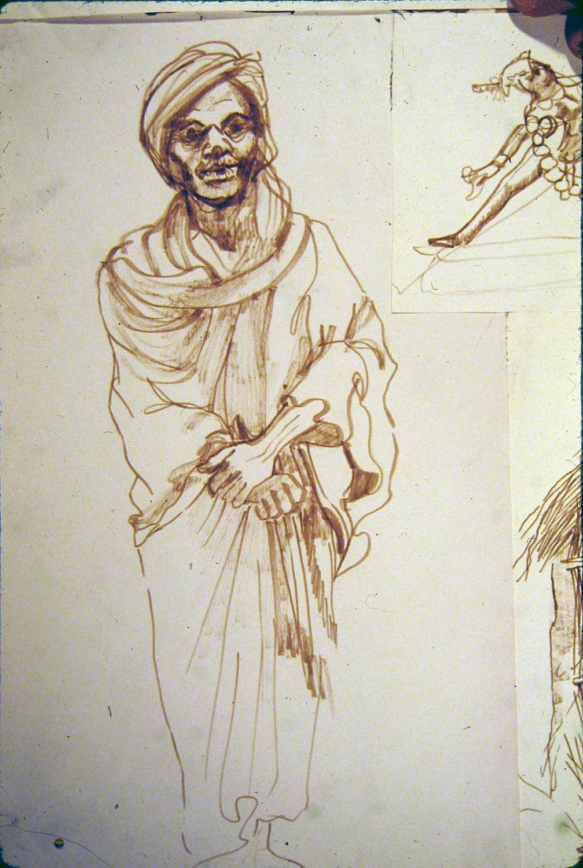 chowkidar (guard) 1973 pencil 12x9