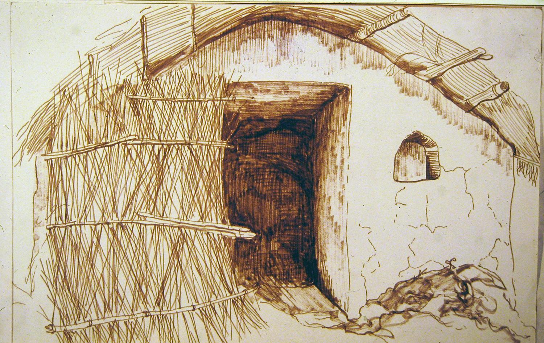 village hut 1972 pencil 9x12