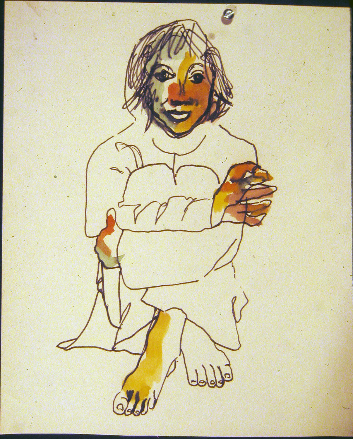 cindy benares after holy festival 1972 pencil and watercolour12x9