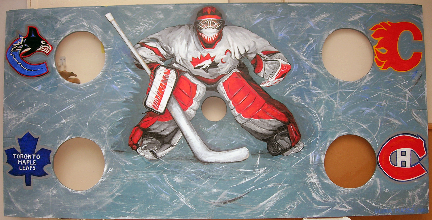 hockey game for gambier community centre 2008 acrylic on plywood 96x48