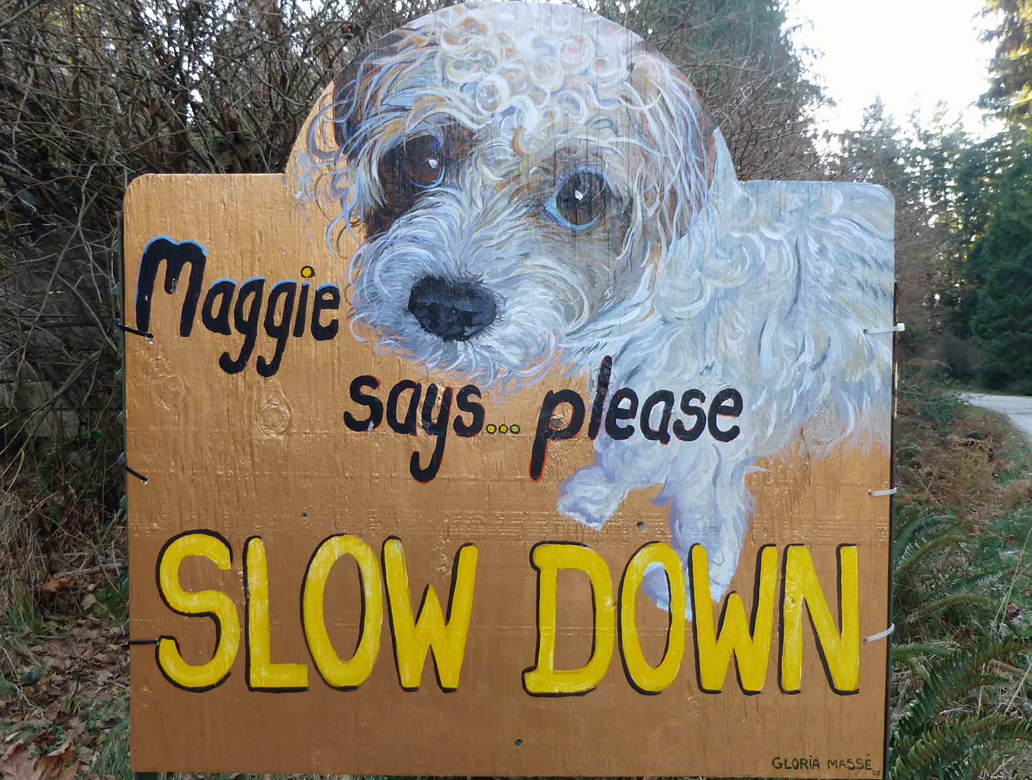 maggie road sign 2009 acrylic on wood 36x36