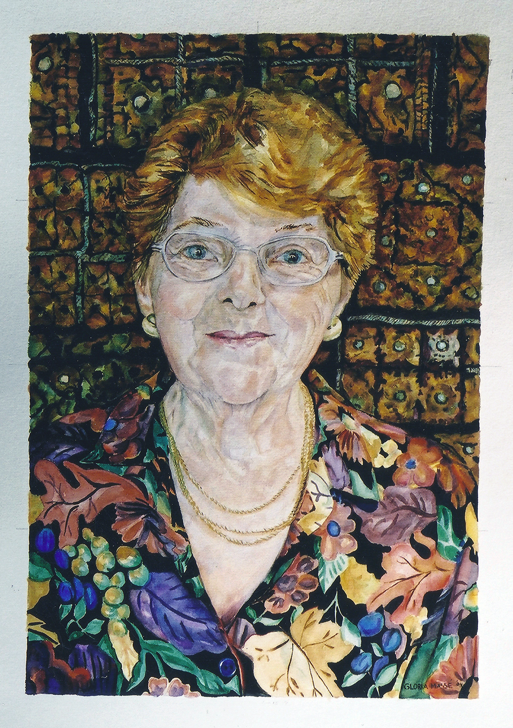 portrait of peter's mom 2004 watercolour 15x22