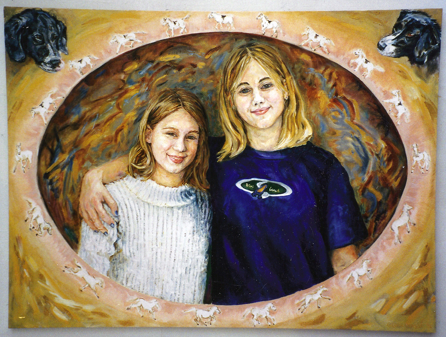 portrait of tina's daughters haley and stacey 1997 acrylic 30x24