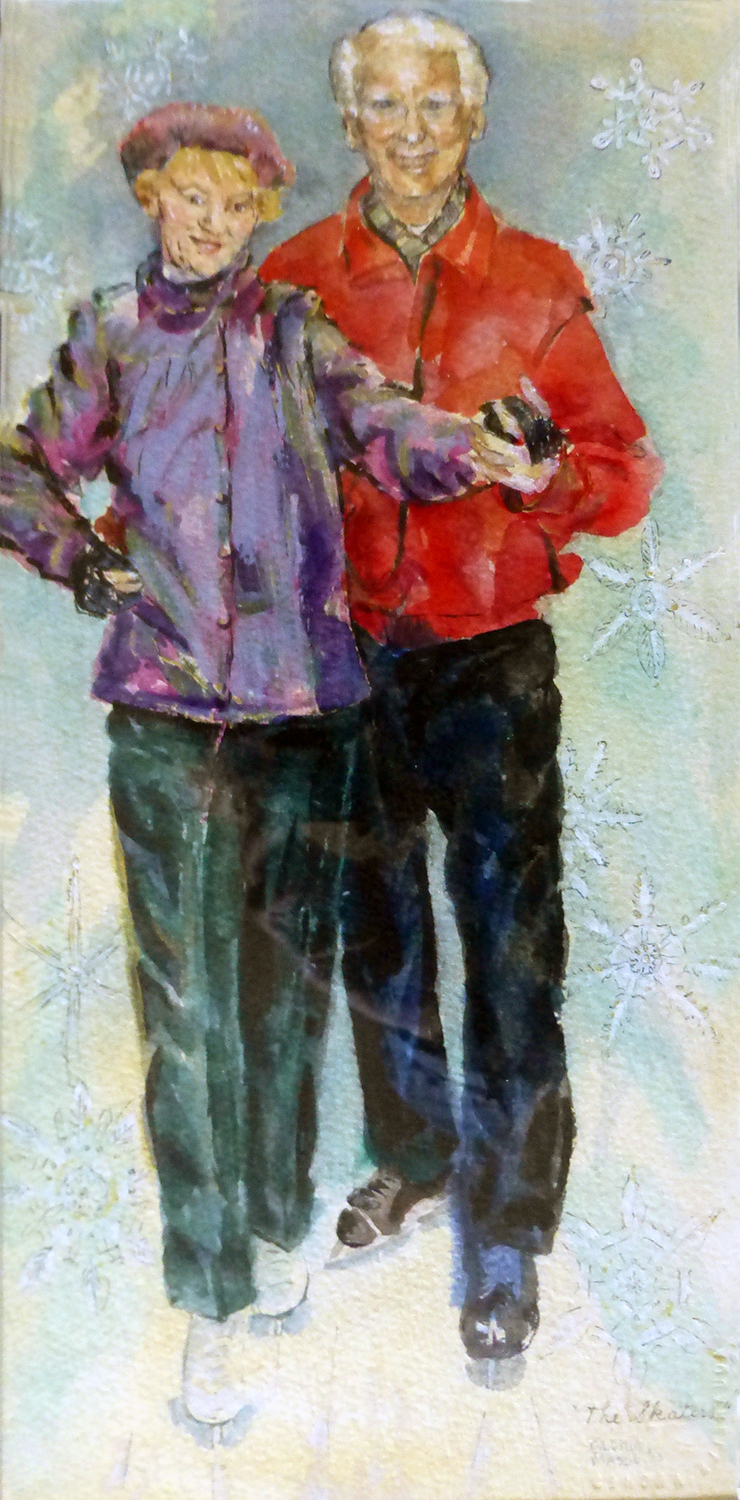 the skaters 1993 watercolour 7x14