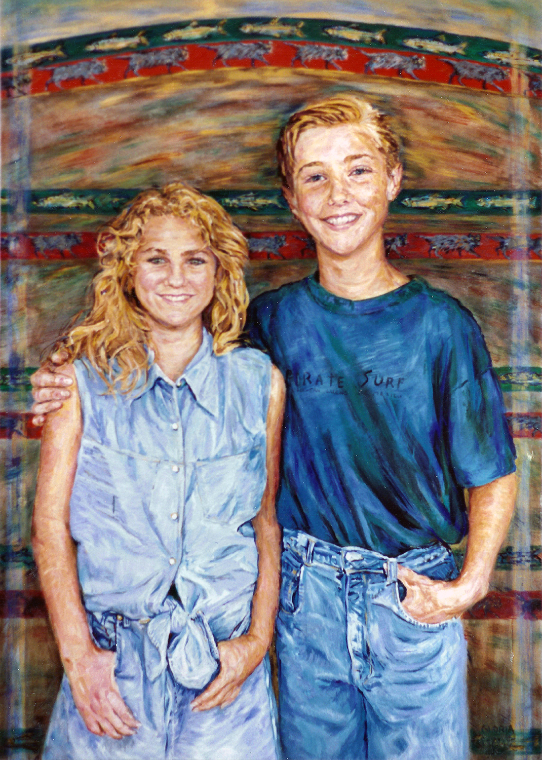 portrait of crystal and nathan atchison 1993 acrylic 30x24