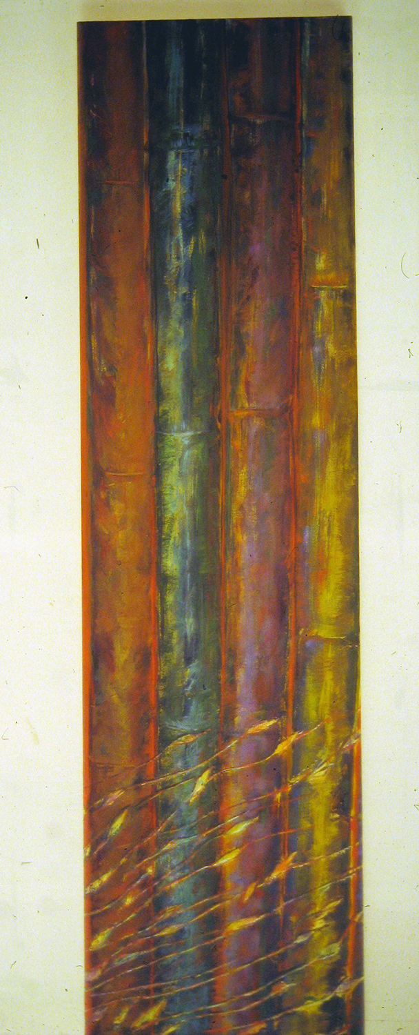 bamboo with leaves 1993 acrylic 60x18