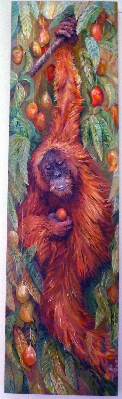 orangutan in a mango tree 2011 acrylic 15x54