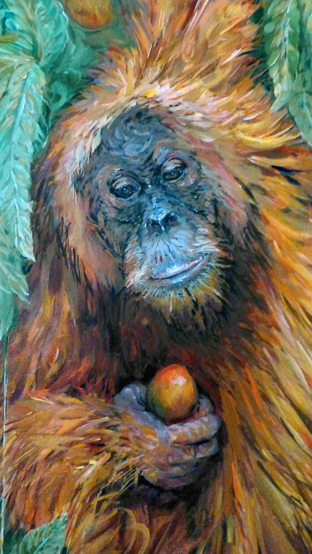 orangutan in a mango tree detail 2011 acrylic