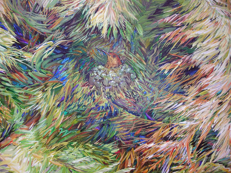 hummingbird nest in cedar detail 2011 acrylic