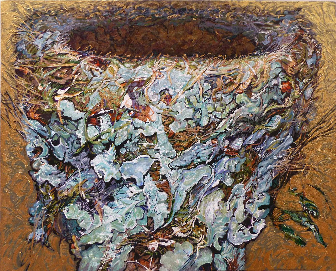 hummingbird nest 2011 acrylic 30x24