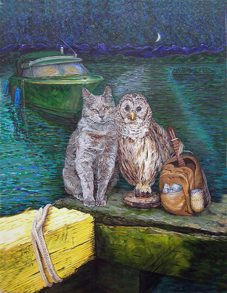 owl and pussycat 2008 acrylic 36x48