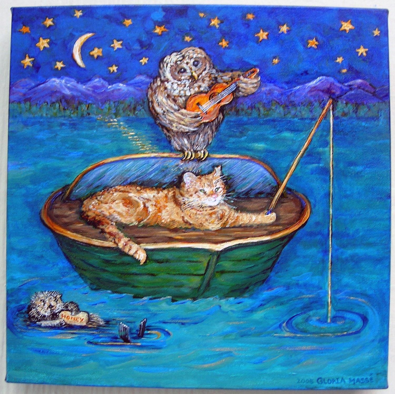 owl and pussycat 2008 acrylic 12x12