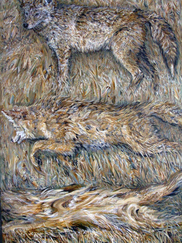 three coyotes 2006 acrylic 40x60