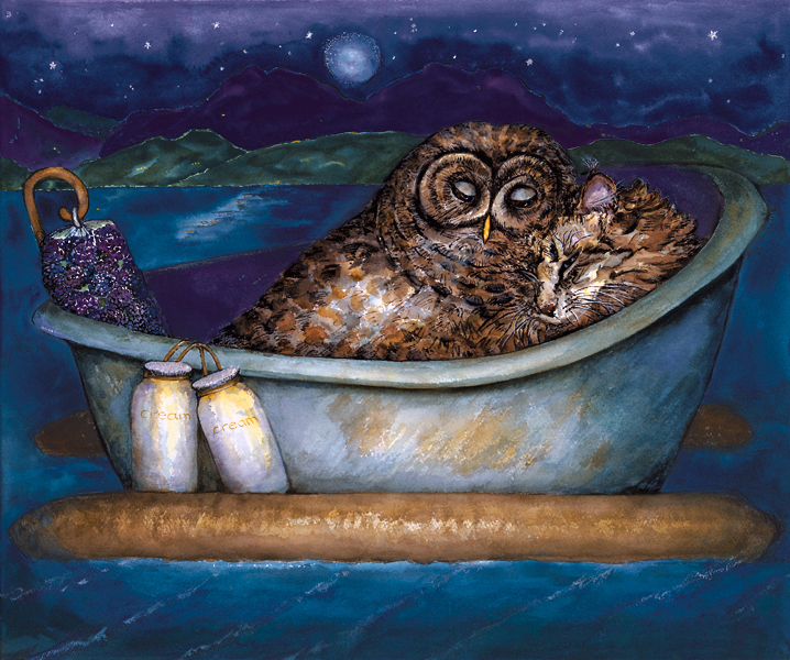 owl and pussycat 2003 acrylic 11x17